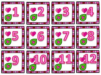 Valentine's Day Calendar Number Visuals - Bilingual