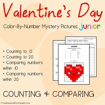 Valentine's Day Color-By-Number: Counting/Greater Than/Les