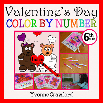 Valentine's Day Color by Number (sixth grade) Color by Dec