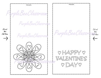 Valentine's Day Coloring Cards Set #1