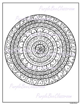 Coloring Page-Valentine's Day Coloring Page-Mandala Colori