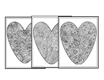 """Valentine's Day Coloring Pages-""""Big Hearts"""" Set #1"""
