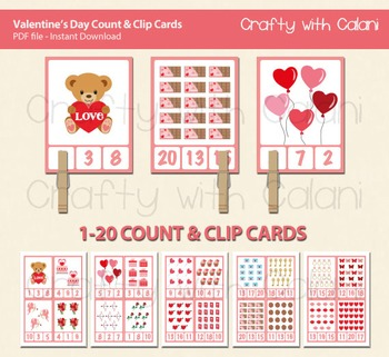 Valentine's Day Count and Clip Cards - numbers 1 - 20