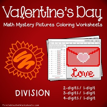 Valentine's Day Division Coloring Worksheets