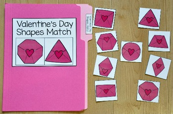 Valentine's Day File Folder Game:  Pretty Shapes Match