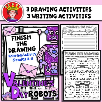 Valentine's Day Finish The Drawing Coloring and Writing Activity