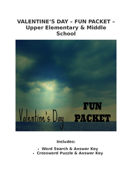 Valentine's Day Fun Packet Word Search Crossword Writing P