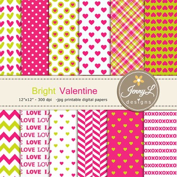 Valentine's Day Heart Digital Papers