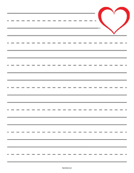Valentine's Day Heart Outline Primary Lined Paper