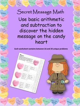 Valentine's Day Hidden Message Math Bundle