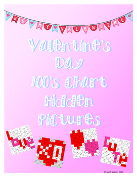 Valentine's Day Hidden Pictures 100's Chart Pack
