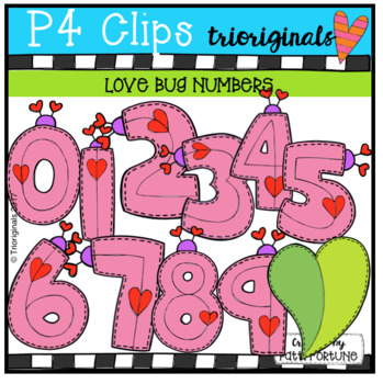 Valentine's Day Love Bug Numbers {P4 Clips Trioriginals Di