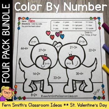 Color By Numbers St Valentine's Day Addition Subtraction M