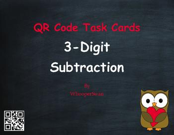 Valentine's Day Math: 3-Digit Subtraction QR Code Task Cards