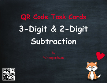 Valentine's Day Math: 3-Digit and 2-Digit Subtraction QR C