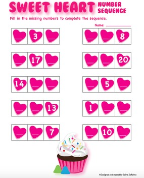 Valentine's Day Math Activity Number Sequence