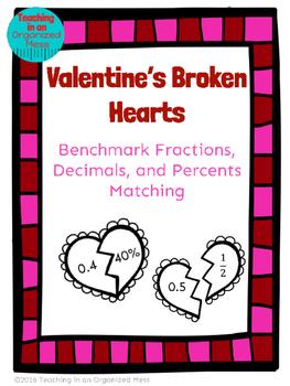 Valentine's Day Math Benchmark Fraction, Decimals, Percents