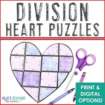 Valentine's Day Math Centers: Division Heart Puzzles