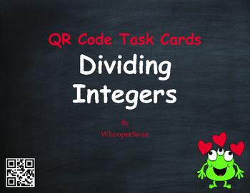 Valentine's Day Math: Dividing Integers QR Code Task Cards