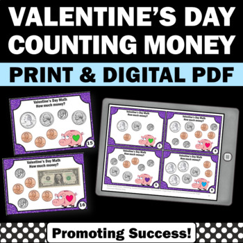 Valentine's Day money task cards games activities