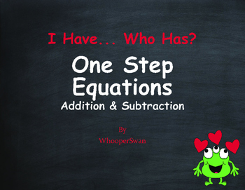 Valentine's Day Math: One Step Equations (Addition & Subtraction)