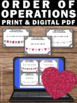 Order of Operations Task Cards for Valentine's Day Math Games