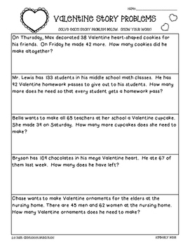 Valentine's Day Math Story Problems--2-3 digit practice wo