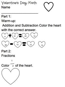 Valentine's Day Math Worksheet