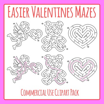 Valentine's Day Mazes - Simple Mazes with Solutions Commer