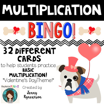 Valentine's Day Multiplication BINGO! 32 Different Cards!