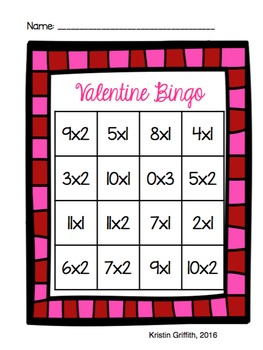 Valentine's Day Multiplication Bingo 0, 1 & 2 Families