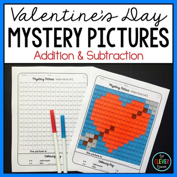 Mystery Pictures Valentine's Day--Addition and Subtraction