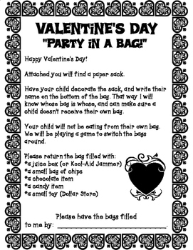 Valentine's Day Party in a Bag