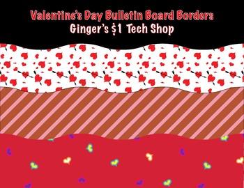 Valentine's Day Print Bulletin Board Borders * Waves * Wavey