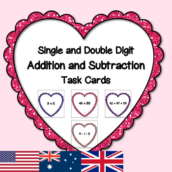 Valentine's Day Single and Double Digit Addition and Subtr