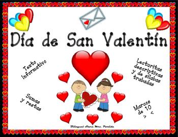 Valentine's Day Spansih Writing Reading Math Bilingual Sta