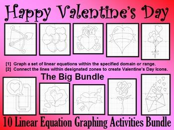 Valentine's Day - The Big Bundle - 10 Linear Equation Grap
