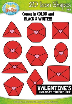 Valentine's Day Themed 2D Icon Shapes Clipart Set — Includ