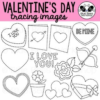 Valentine's Day Tracing Clip Art