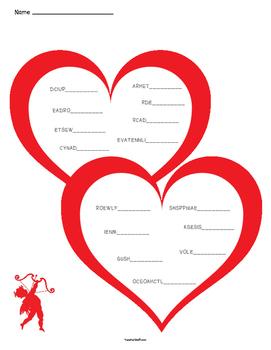 Valentine's Day Unscramble