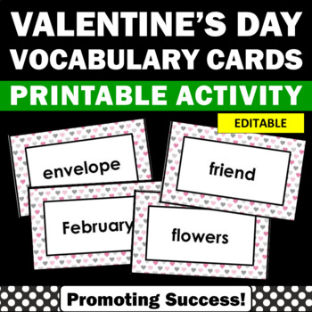 Valentine's Day Vocabulary Cards Literacy Center Word Wall