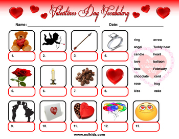 Valentine's Day Vocabulary Identification