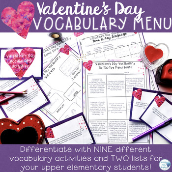 Valentine's Day Vocabulary Choice Menu--Activities for Eas