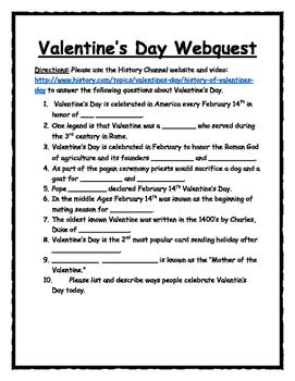 History of Valentine's Day Webquest