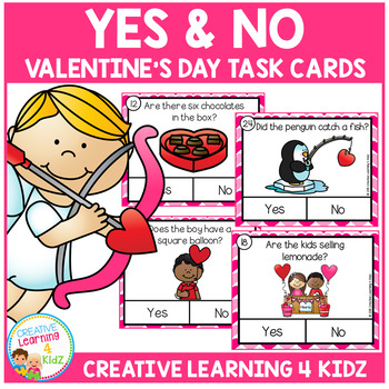 Valentine's Day Yes & No Picture Question Task Cards