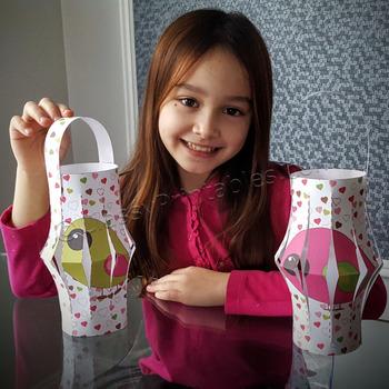 Valentine's Day fine motor skills paper lantern craft activity