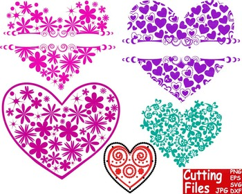 Valentine's Day floral Heart Pattern Cutting File Set clip