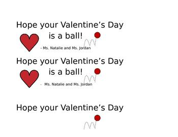 Valentine's Day label from teacher