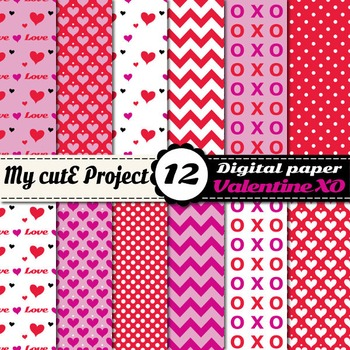 Valentine's day Digital Paper Pack - Hearts, Chevron, polk