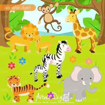 Cute Safari Clipart Scrapbook printables, baby wild animal